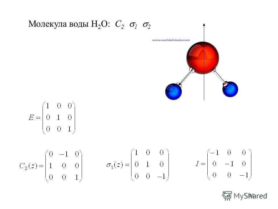 11 Молекула воды H 2 O: C 2 1 2
