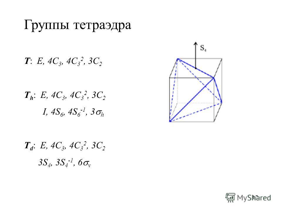 17 Группы тетраэдра T: E, 4C 3, 4C 3 2, 3C 2 T h : E, 4C 3, 4C 3 2, 3C 2 I, 4S 6, 4S 6 -1, 3 h T d : E, 4C 3, 4C 3 2, 3C 2 3S 4, 3S 4 -1, 6 v