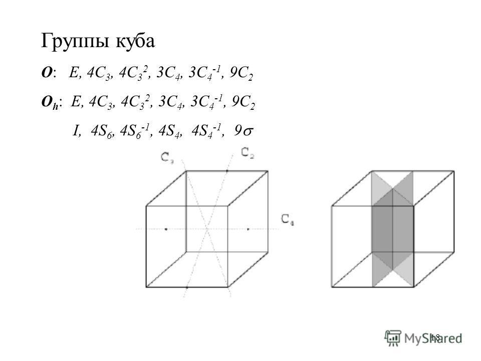 18 Группы куба O: E, 4C 3, 4C 3 2, 3C 4, 3C 4 -1, 9C 2 O h : E, 4C 3, 4C 3 2, 3C 4, 3C 4 -1, 9C 2 I, 4S 6, 4S 6 -1, 4S 4, 4S 4 -1, 9