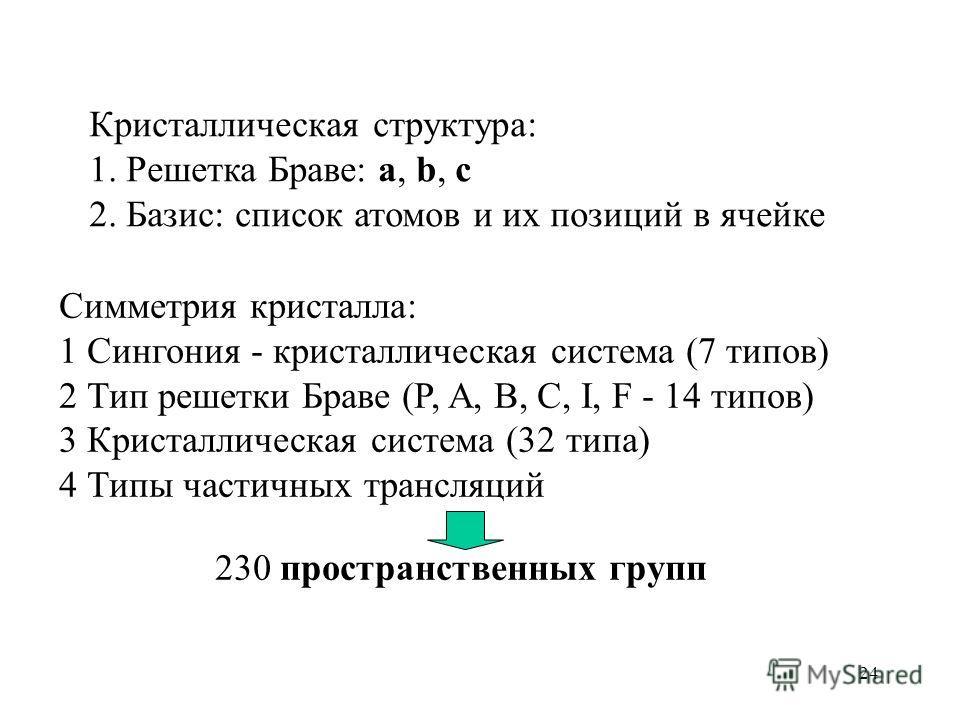24 Кристаллическая структура: 1. Решетка Браве: a, b, c 2. Базис: список атомов и их позиций в ячейке Симметрия кристалла: 1 Сингония - кристаллическая система (7 типов) 2 Тип решетки Браве (P, A, B, C, I, F - 14 типов) 3 Кристаллическая система (32
