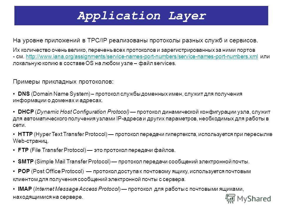 Application Layer На уровне приложений в TPC/IP реализованы протоколы разных служб и сервисов. Их количество очень велико, перечень всех протоколов и зарегистрированных за ними портов - см. http://www.iana.org/assignments/service-names-port-numbers/s