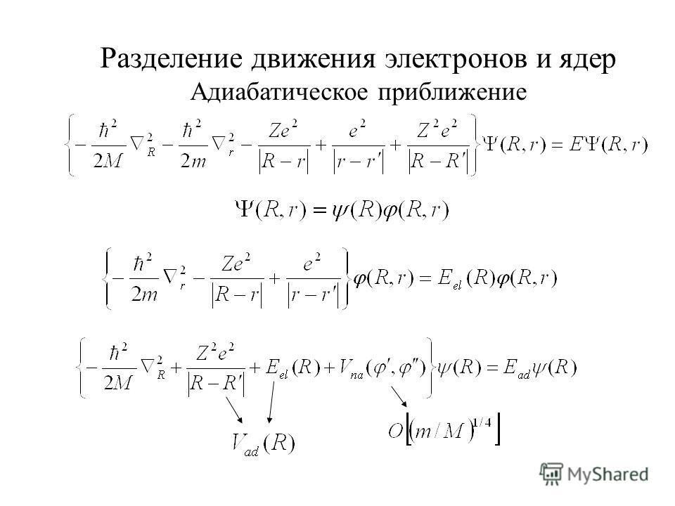Разделение движения электронов и ядер Адиабатическое приближение