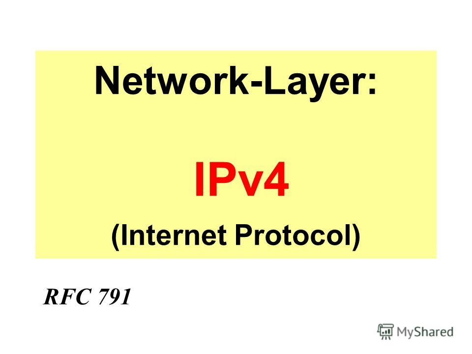 Network-Layer: IPv4 (Internet Protocol) RFC 791