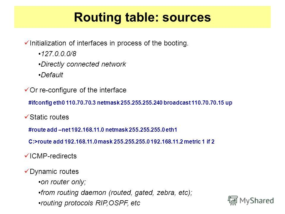 Routing table: sources Initialization of interfaces in process of the booting. 127.0.0.0/8 Directly connected network Default Or re-configure of the interface #ifconfig eth0 110.70.70.3 netmask 255.255.255.240 broadcast 110.70.70.15 up Static routes