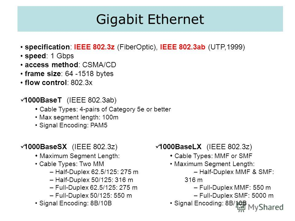 specification: IEEE 802.3z (FiberOptic), IEEE 802.3ab (UTP,1999) speed: 1 Gbps access method: CSMA/CD frame size: 64 -1518 bytes flow control: 802.3x 1000BaseT (IEEE 802.3ab) Cable Types: 4-pairs of Category 5e or better Max segment length: 100m Sign