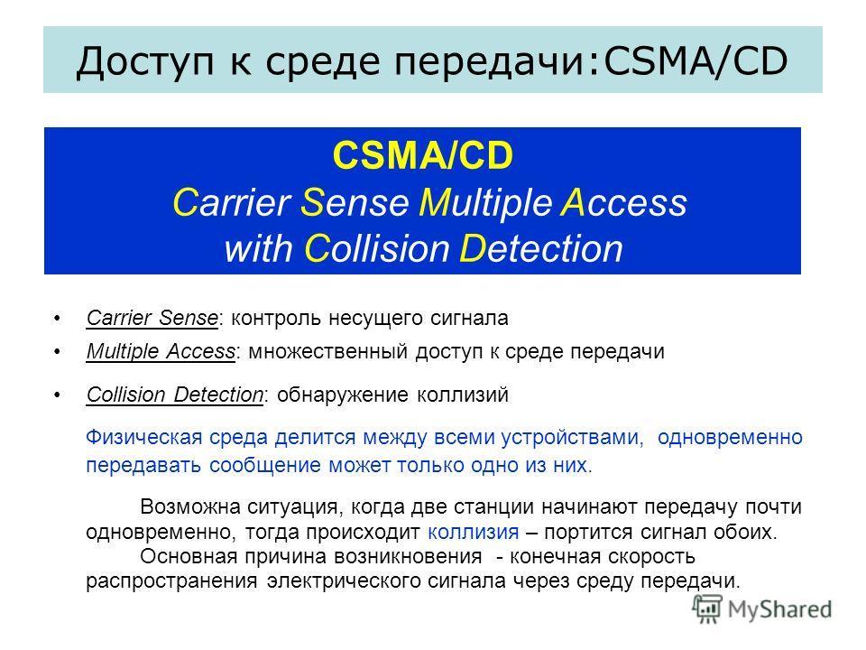 Carrier Sense: контроль несущего сигнала Multiple Access: множественный доступ к среде передачи Collision Detection: обнаружение коллизий Физическая среда делится между всеми устройствами, одновременно передавать сообщение может только одно из них. В