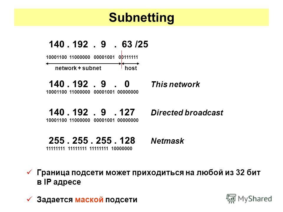Subnetting Граница подсети может приходиться на любой из 32 бит в IP адресе Задается маской подсети 140. 192. 9. 63 /25 10001100 11000000 00001001 00111111 network + subnet host 140. 192. 9. 0 This network 10001100 11000000 00001001 00000000 140. 192