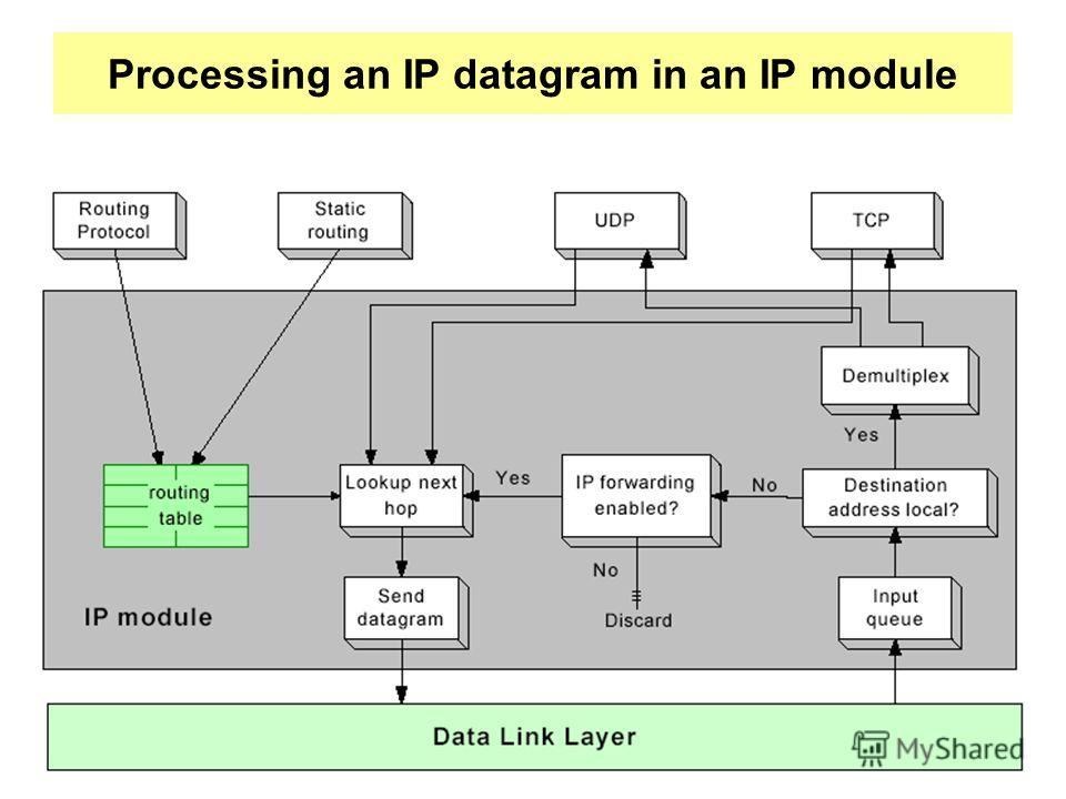 Processing an IP datagram in an IP module