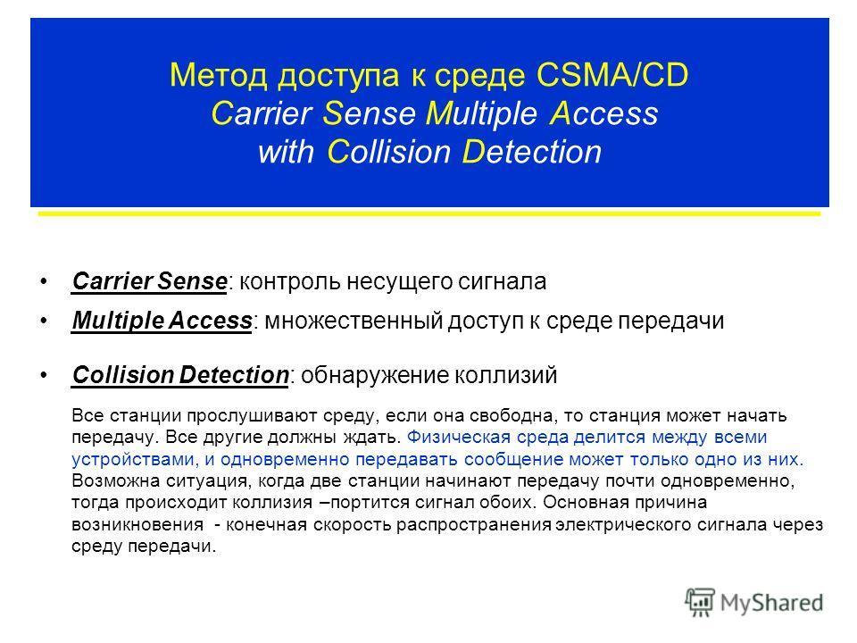 Метод доступа к среде CSMA/CD Carrier Sense Multiple Access with Collision Detection Carrier Sense: контроль несущего сигнала Multiple Access: множественный доступ к среде передачи Collision Detection: обнаружение коллизий Все станции прослушивают ср