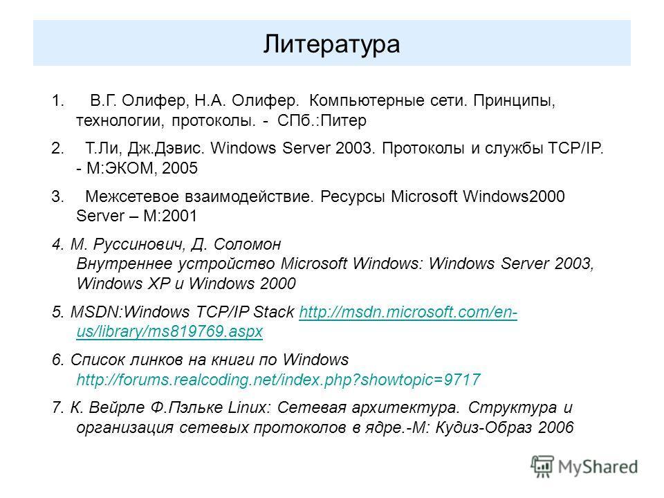 Литература 1. В.Г. Олифер, Н.А. Олифер. Компьютерные сети. Принципы, технологии, протоколы. - СПб.:Питер 2. Т.Ли, Дж.Дэвис. Windows Server 2003. Протоколы и службы TCP/IP. - М:ЭКОМ, 2005 3. Межсетевое взаимодействие. Ресурсы Microsoft Windows2000 Ser