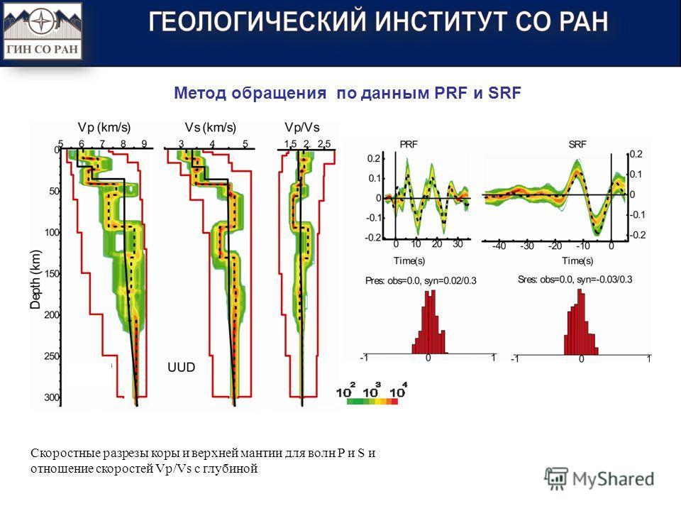 Скоростные разрезы коры и верхней мантии для волн P и S и отношение скоростей Vp/Vs с глубиной Метод обращения по данным PRF и SRF