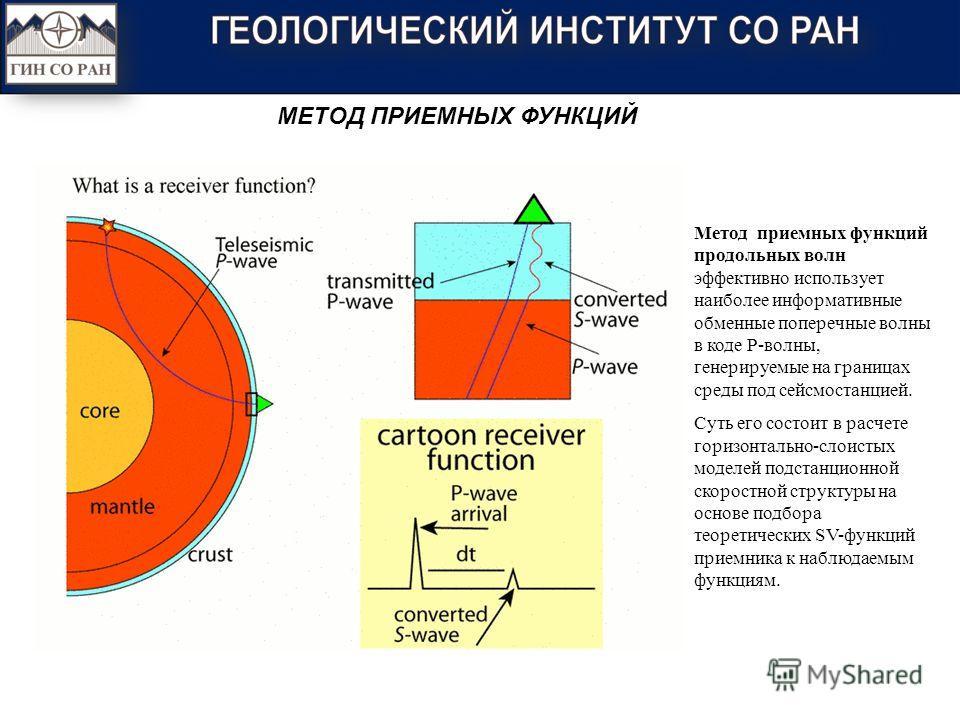 Метод приемных функций продольных волн эффективно использует наиболее информативные обменные поперечные волны в коде Р-волны, генерируемые на границах среды под сейсмостанцией. Суть его состоит в расчете горизонтально-слоистых моделей подстанционной