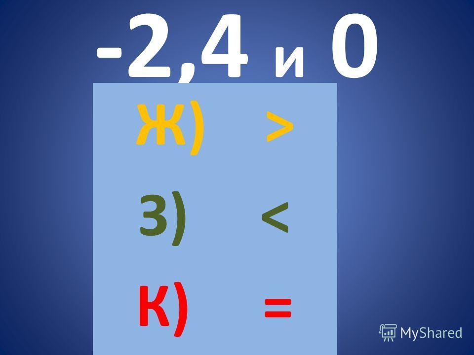 -2,4 и 0 Ж) > З) < К) =