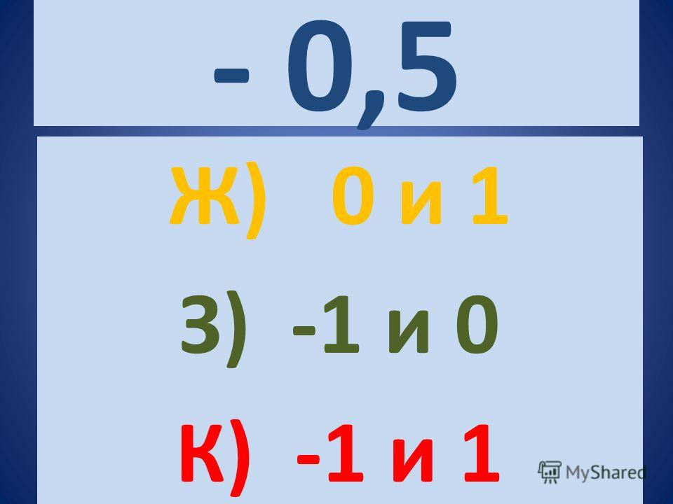 - 0,5 Ж) 0 и 1 З) -1 и 0 К) -1 и 1