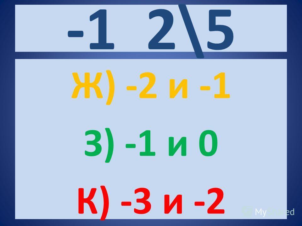 -1 2\5 Ж) -2 и -1 З) -1 и 0 К) -3 и -2