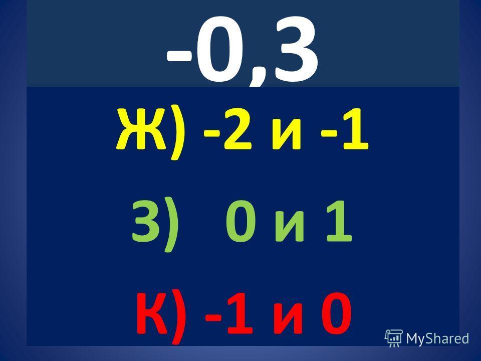 -0,3 Ж) -2 и -1 З) 0 и 1 К) -1 и 0