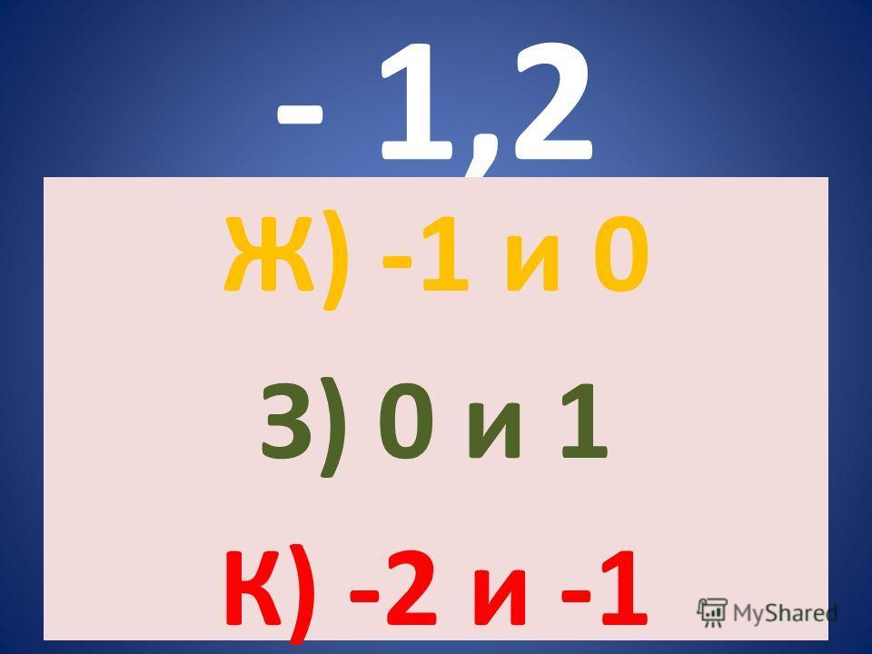 - 1,2 Ж) -1 и 0 З) 0 и 1 К) -2 и -1