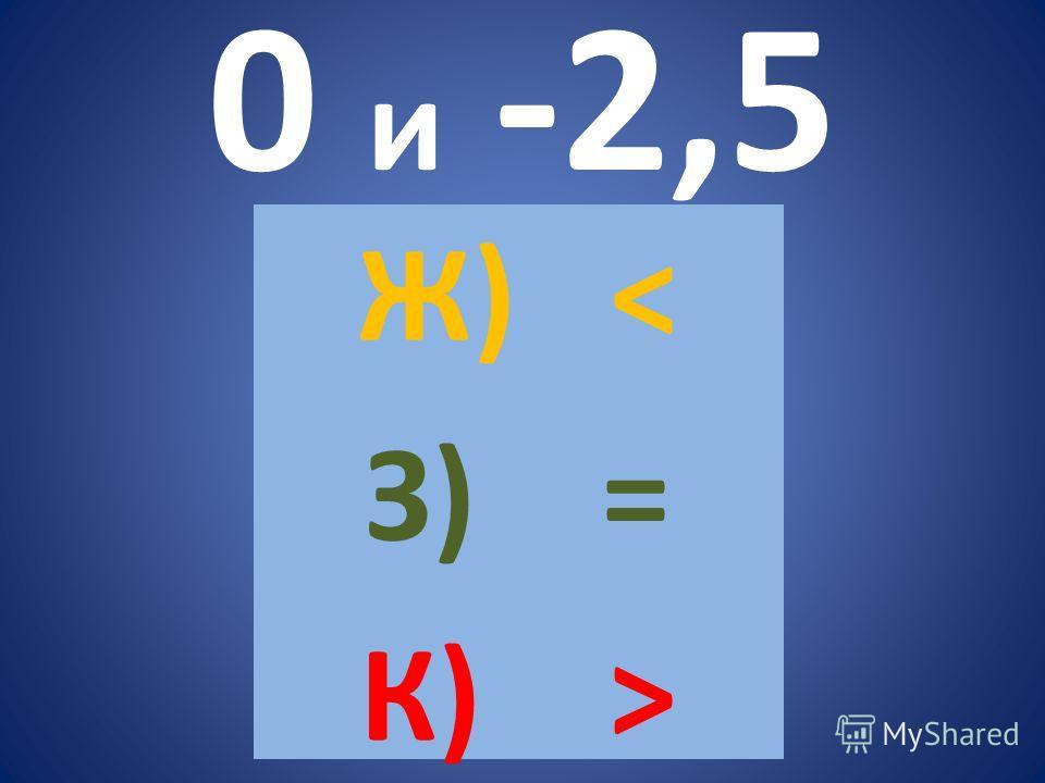 0 и -2,5 Ж) < З) = К) >