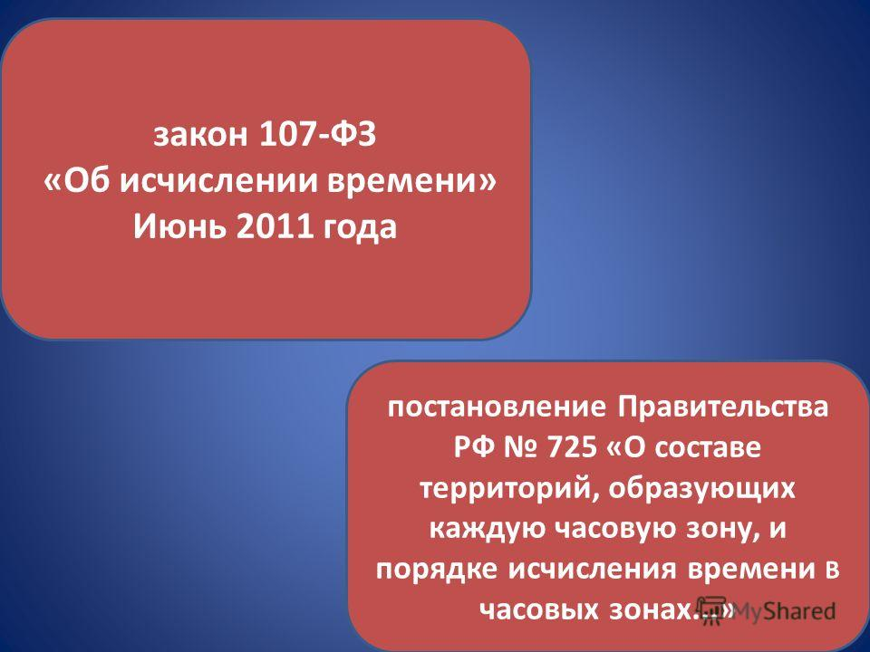 закон 107-ФЗ «Об исчислении времени» Июнь 2011 года постановление Правительства РФ 725 «О составе территорий, образующих каждую часовую зону, и порядке исчисления времени В часовых зонах...»