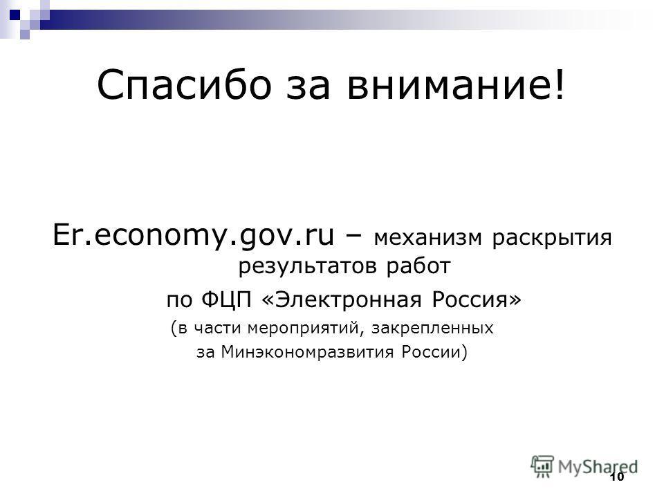 10 Спасибо за внимание! Er.economy.gov.ru – механизм раскрытия результатов работ по ФЦП «Электронная Россия» (в части мероприятий, закрепленных за Минэкономразвития России)