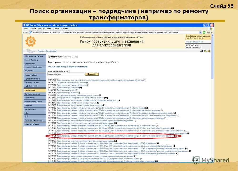 Слайд 35 Поиск организации – подрядчика (например по ремонту трансформаторов)