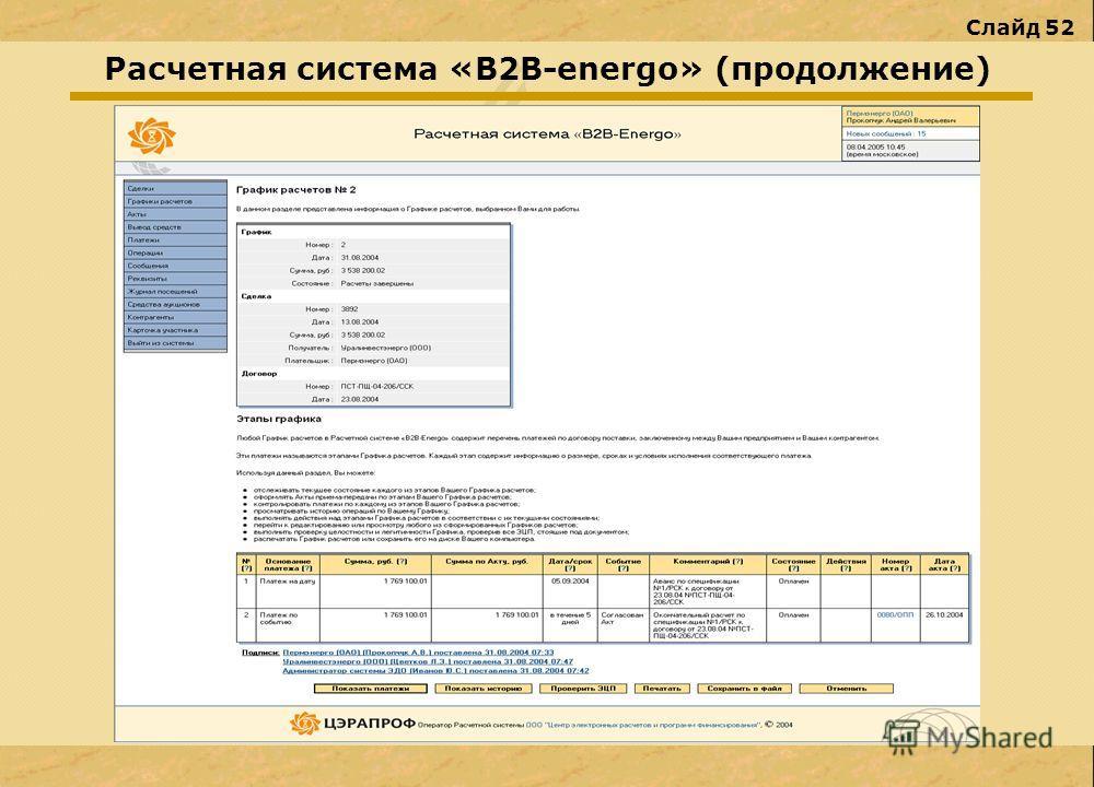 Слайд 52 Расчетная система «В2В-energo» (продолжение)