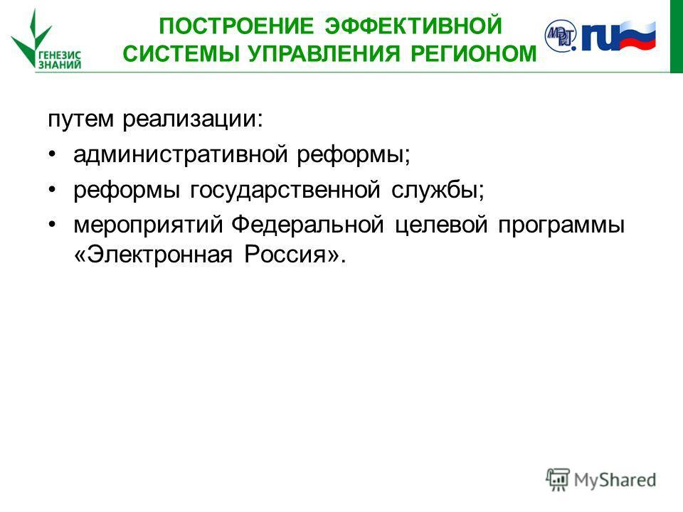 путем реализации: административной реформы; реформы государственной службы; мероприятий Федеральной целевой программы «Электронная Россия». ПОСТРОЕНИЕ ЭФФЕКТИВНОЙ СИСТЕМЫ УПРАВЛЕНИЯ РЕГИОНОМ