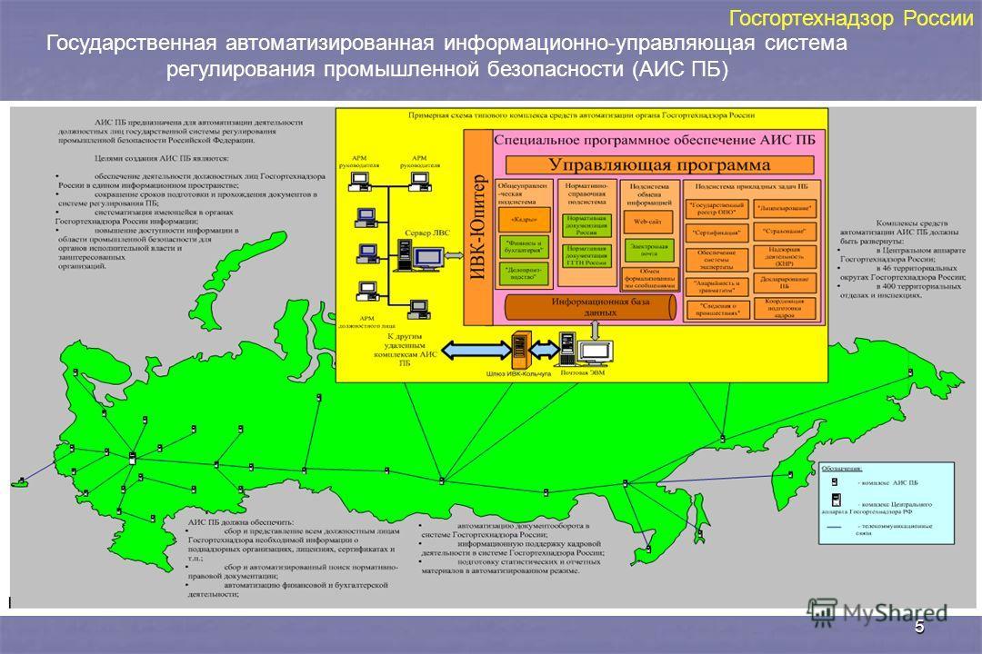 5 Государственная автоматизированная информационно-управляющая система регулирования промышленной безопасности (АИС ПБ) Госгортехнадзор России
