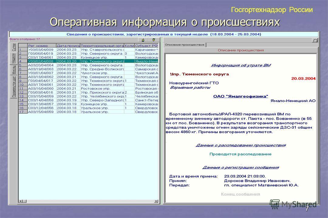 7 Оперативная информация о происшествиях Госгортехнадзор России