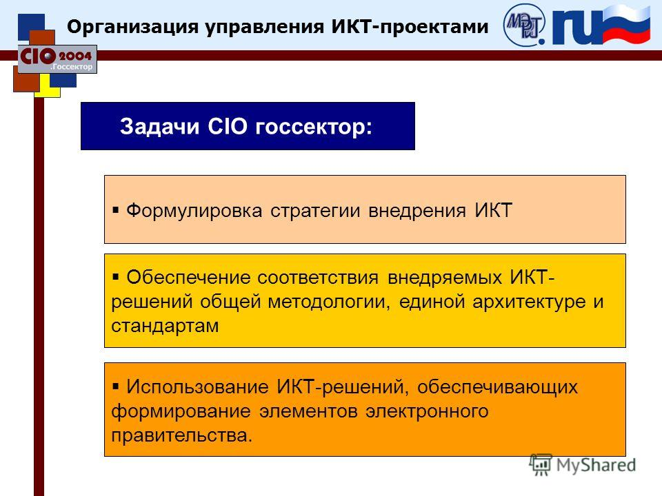 Организация управления ИКТ-проектами Задачи CIO госсектор: Формулировка стратегии внедрения ИКТ Обеспечение соответствия внедряемых ИКТ- решений общей методологии, единой архитектуре и стандартам Использование ИКТ-решений, обеспечивающих формирование