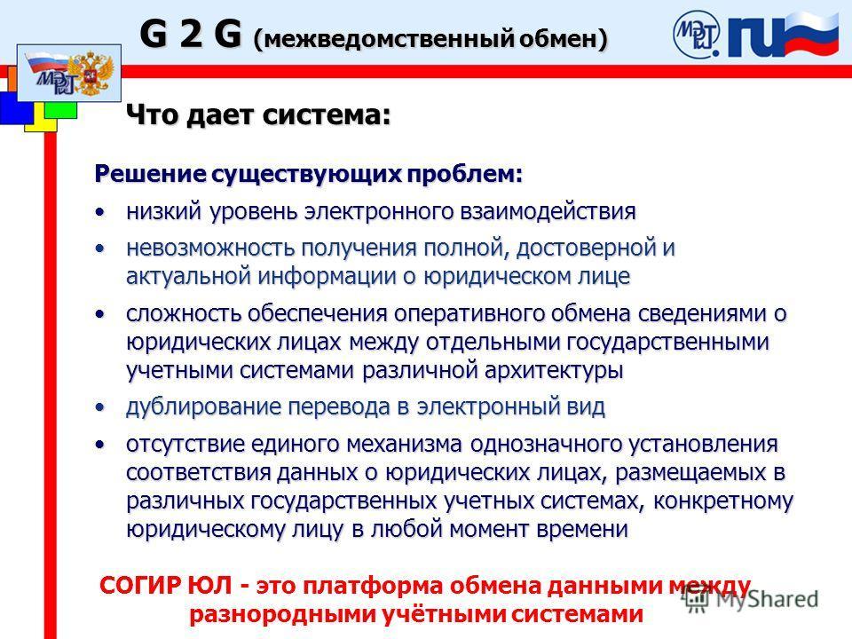 G 2 G (межведомственный обмен) Что дает система: Решение существующих проблем: низкий уровень электронного взаимодействиянизкий уровень электронного взаимодействия невозможность получения полной, достоверной и актуальной информации о юридическом лице