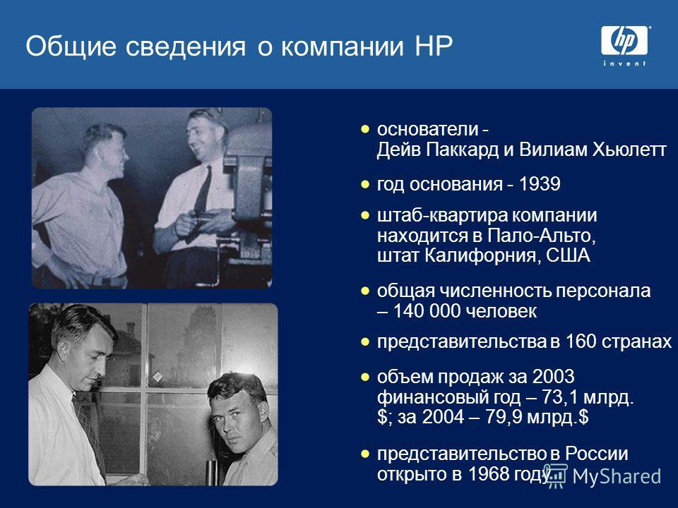 Общие сведения о компании HP объем продаж за 2003 финансовый год – 73,1 млрд. $; за 2004 – 79,9 млрд.$ основатели - Дейв Паккард и Вилиам Хьюлетт год основания - 1939 штаб-квартира компании находится в Пало-Альто, штат Калифорния, США общая численнос