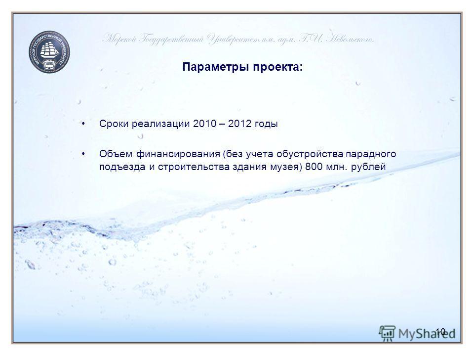 10 Параметры проекта: Сроки реализации 2010 – 2012 годы Объем финансирования (без учета обустройства парадного подъезда и строительства здания музея) 800 млн. рублей