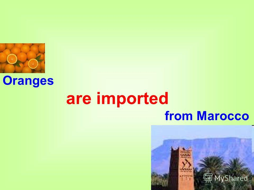 Oranges are imported from Marocco