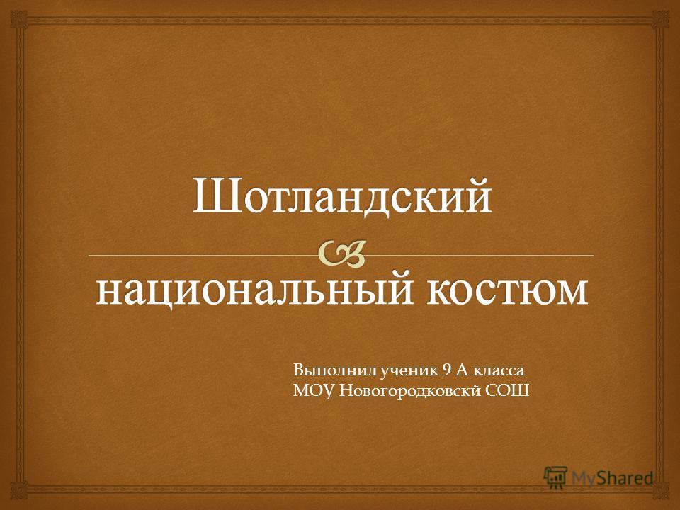 Выполнил ученик 9 А класса МОУ Новогородковскй СОШ
