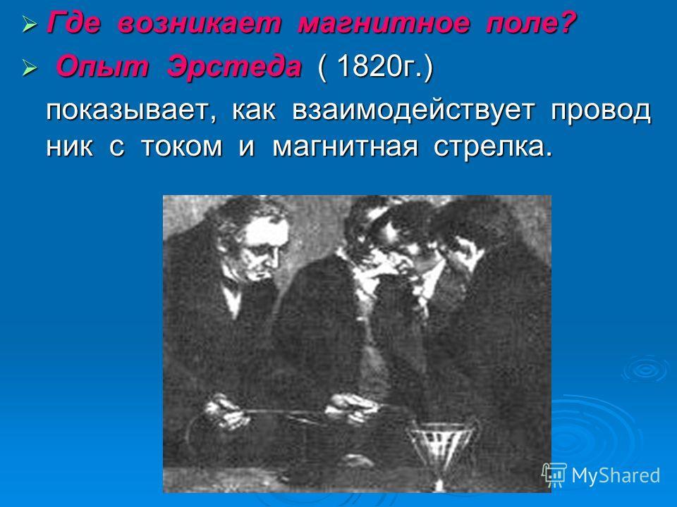 Где возникает магнитное поле? Где возникает магнитное поле? Опыт Эрстеда ( 1820г.) Опыт Эрстеда ( 1820г.) показывает, как взаимодействует провод ник с током и магнитная стрелка.
