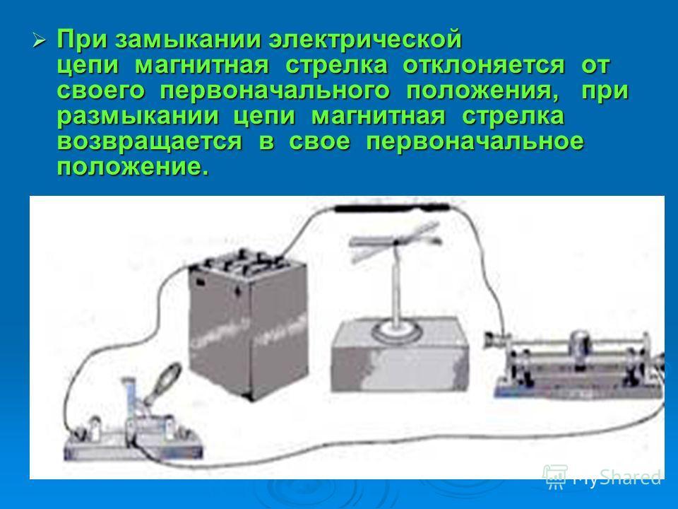 При замыкании электрической цепи магнитная стрелка отклоняется от своего первоначального положения, при размыкании цепи магнитная стрелка возвращается в свое первоначальное положение. При замыкании электрической цепи магнитная стрелка отклоняется от