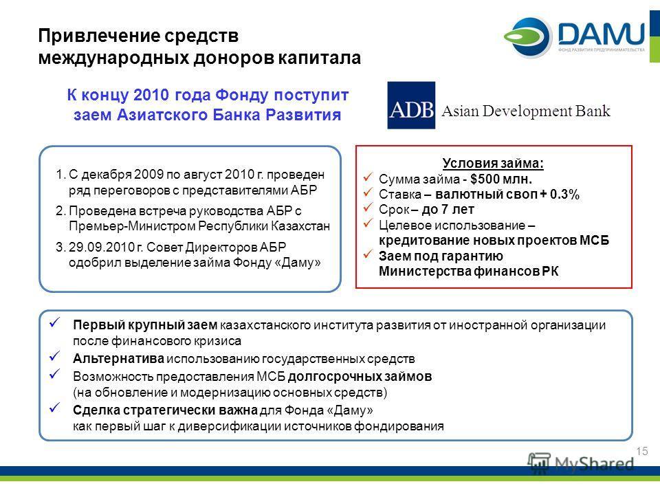 Первый крупный заем казахстанского института развития от иностранной организации после финансового кризиса Альтернатива использованию государственных средств Возможность предоставления МСБ долгосрочных займов (на обновление и модернизацию основных ср