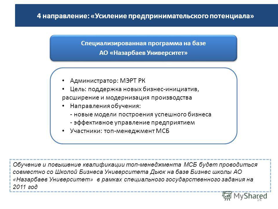 Обучение и повышение квалификации топ-менеджмента МСБ будет проводиться совместно со Школой Бизнеса Университета Дьюк на базе Бизнес школы АО «Назарбаев Университет» в рамках специального государственного задания на 2011 год Администратор: МЭРТ РК Це