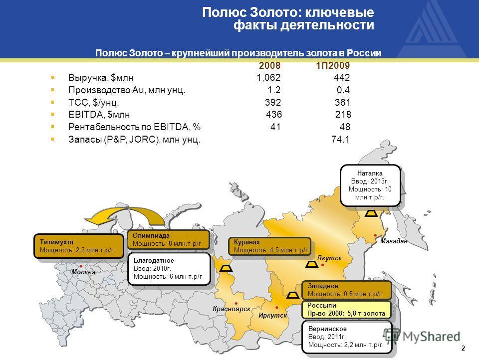 Полюс Золото: ключевые факты деятельности 2 Полюс Золото – крупнейший производитель золота в России 2008 1П2009 Выручка, $млн 1,062 442 Производство Au, млн унц. 1.2 0.4 TCC, $/унц. 392 361 EBITDA, $млн 436 218 Рентабельность по EBITDA, % 41 48 Запас