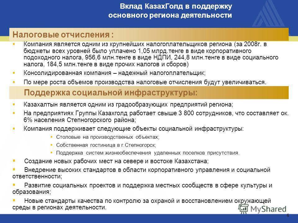 Казахалтын является одним из градообразующих предприятий региона; На предприятиях Группы Казахголд работает свыше 3 800 сотрудников, что составляет ок. 6% населения Степногорского района; Компания поддерживает следующие объекты социальной инфраструкт