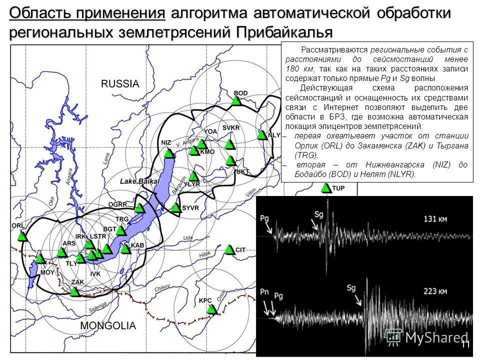 Область применения алгоритма автоматической обработки региональных землетрясений Прибайкалья Рассматриваются региональные события с расстояниями до сейсмостанций менее 180 км, так как на таких расстояниях записи содержат только прямые Pg и Sg волны.