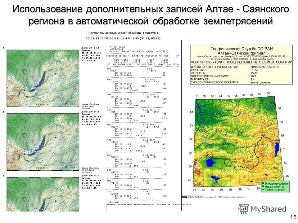 Использование дополнительных записей Алтае - Саянского региона в автоматической обработке землетрясений 15