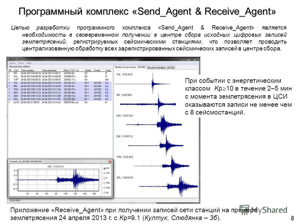 Программный комплекс «Send_Agent & Receive_Agent» Целью разработки программного комплекса «Send_Agent & Receive_Agent» является необходимость в своевременном получении в центре сбора исходных цифровых записей землетрясений, регистрируемых сейсмически