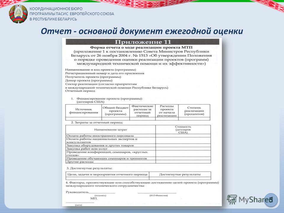 КООРДИНАЦИОННОЕ БЮРО ПРОГРАММЫ ТАСИС ЕВРОПЕЙСКОГО СОЮЗА В РЕСПУБЛИКЕ БЕЛАРУСЬ 5 Отчет - основной документ ежегодной оценки