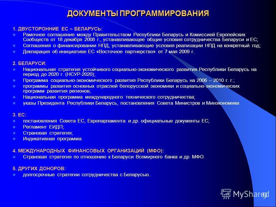 ДОКУМЕНТЫ ПРОГРАММИРОВАНИЯ 1. ДВУСТОРОННИЕ ЕС – БЕЛАРУСЬ: Рамочное соглашение между Правительством Республики Беларусь и Комиссией Европейских Сообществ от 18 декабря 2008 г., устанавливающее общие условия сотрудничества Беларуси и ЕС; Соглашения о ф