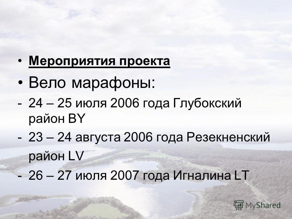 Мероприятия проекта Вело марафоны: -24 – 25 июля 2006 года Глубокский район BY -23 – 24 августа 2006 года Резекненский район LV -26 – 27 июля 2007 года Игналина LT