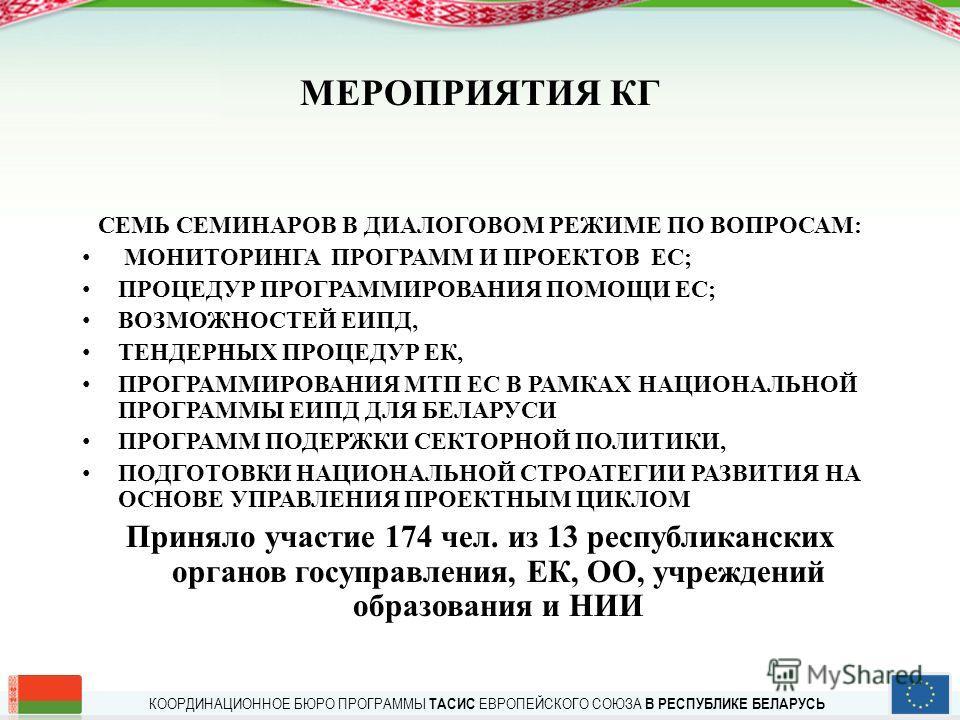 КООРДИНАЦИОННОЕ БЮРО ПРОГРАММЫ ТАСИС ЕВРОПЕЙСКОГО СОЮЗА В РЕСПУБЛИКЕ БЕЛАРУСЬ МЕРОПРИЯТИЯ КГ СЕМЬ СЕМИНАРОВ В ДИАЛОГОВОМ РЕЖИМЕ ПО ВОПРОСАМ: МОНИТОРИНГА ПРОГРАММ И ПРОЕКТОВ ЕС; ПРОЦЕДУР ПРОГРАММИРОВАНИЯ ПОМОЩИ ЕС; ВОЗМОЖНОСТЕЙ ЕИПД, ТЕНДЕРНЫХ ПРОЦЕДУ