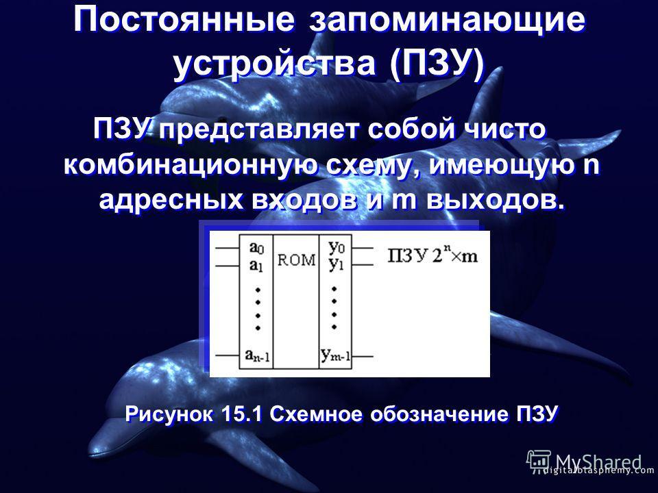 Постоянные запоминающие устройства (ПЗУ) ПЗУ представляет собой чисто комбинационную схему, имеющую n адресных входов и m выходов. Рисунок 15.1 Схемное обозначение ПЗУ