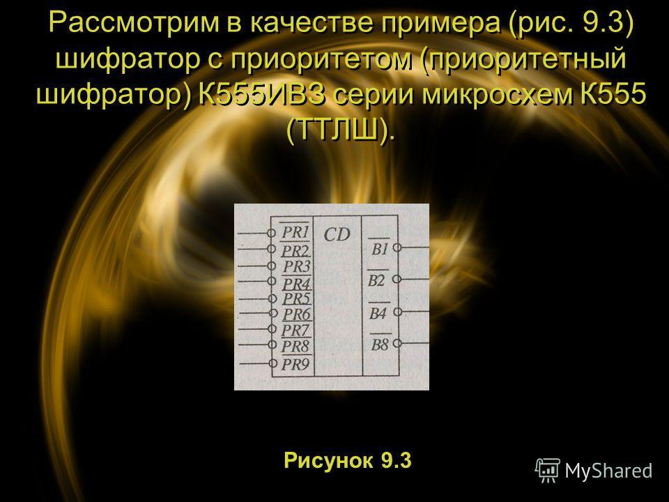Рассмотрим в качестве примера (рис. 9.3) шифратор с приоритетом (приоритетный шифратор) К555ИВЗ серии микросхем К555 (ТТЛШ). Рисунок 9.3